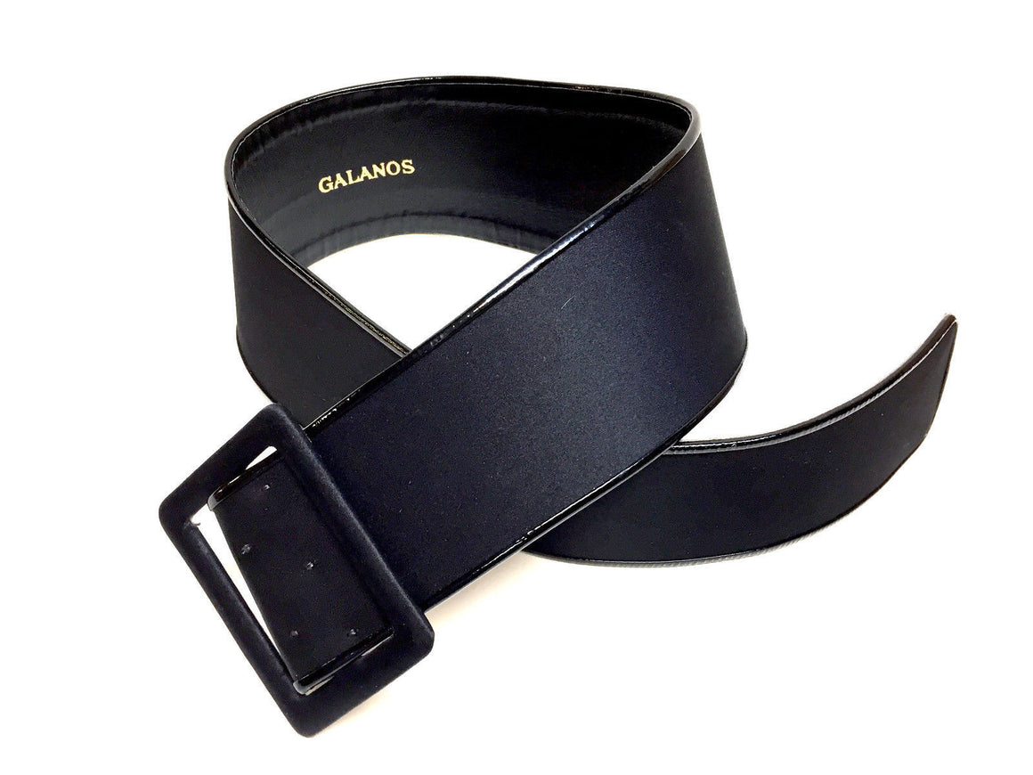 bisbiz.com GALANOS Black Silk Satin Black Patent Leather Trim Wide Belt Size: Small - Bis Luxury Resale