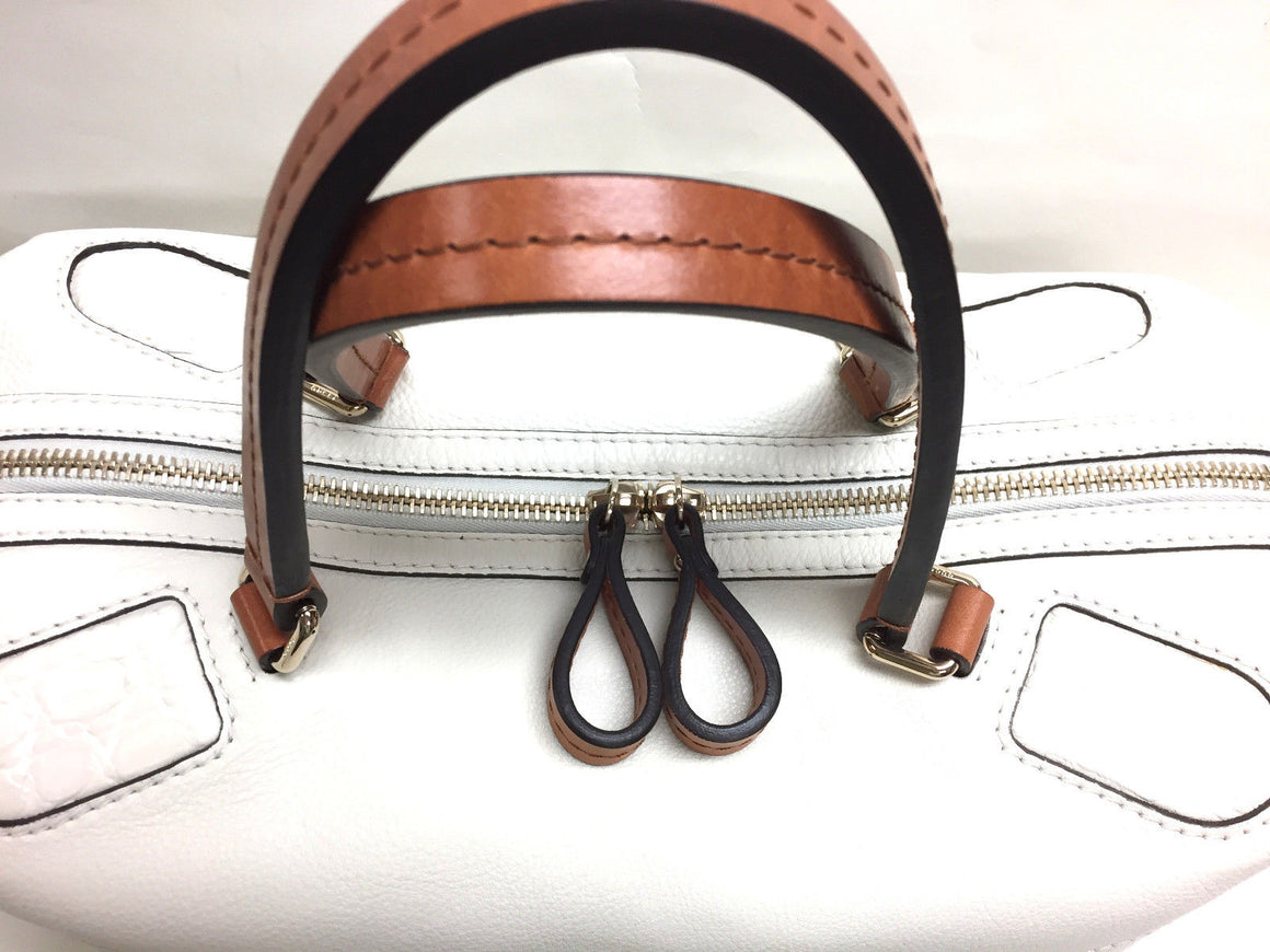 bisbiz.com GUCCI  White Caviar Leather Tan Leather Handles & Pull Duffle Bag/Handbag - Bis Luxury Resale