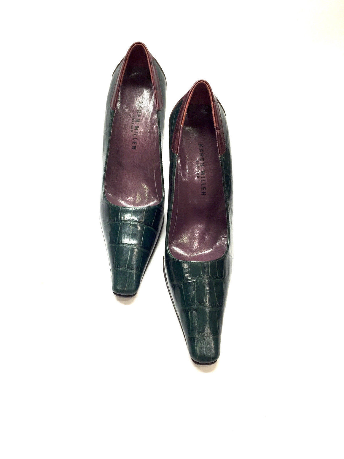 bisbiz.com KAREN MILLEN  Forest-Green/Burgundy Moc-Croc Leather Bent Heel Pumps Shoes  Size: 37/7 - Bis Luxury Resale