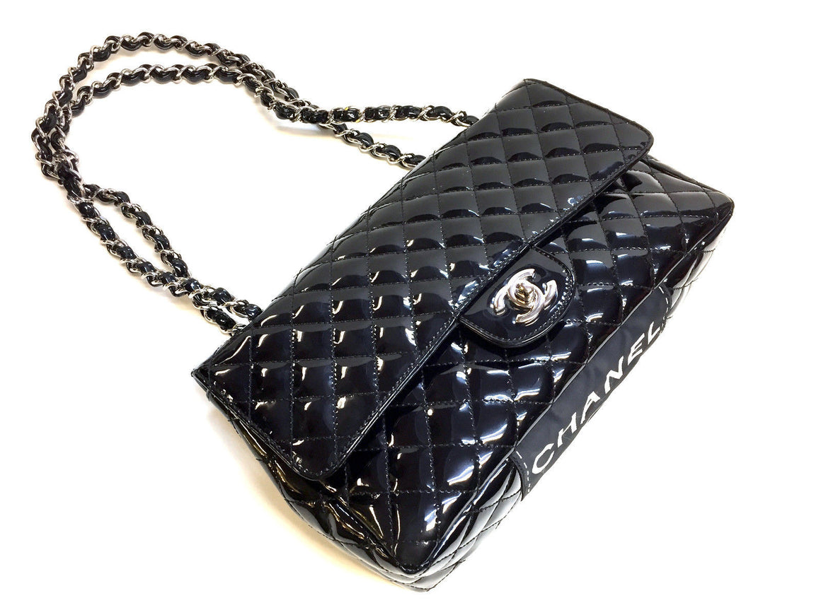 bisbiz.com CHANEL Black Patent Leather Single Flap SHW Classic Shoulder Hand Bag - Bis Luxury Resale