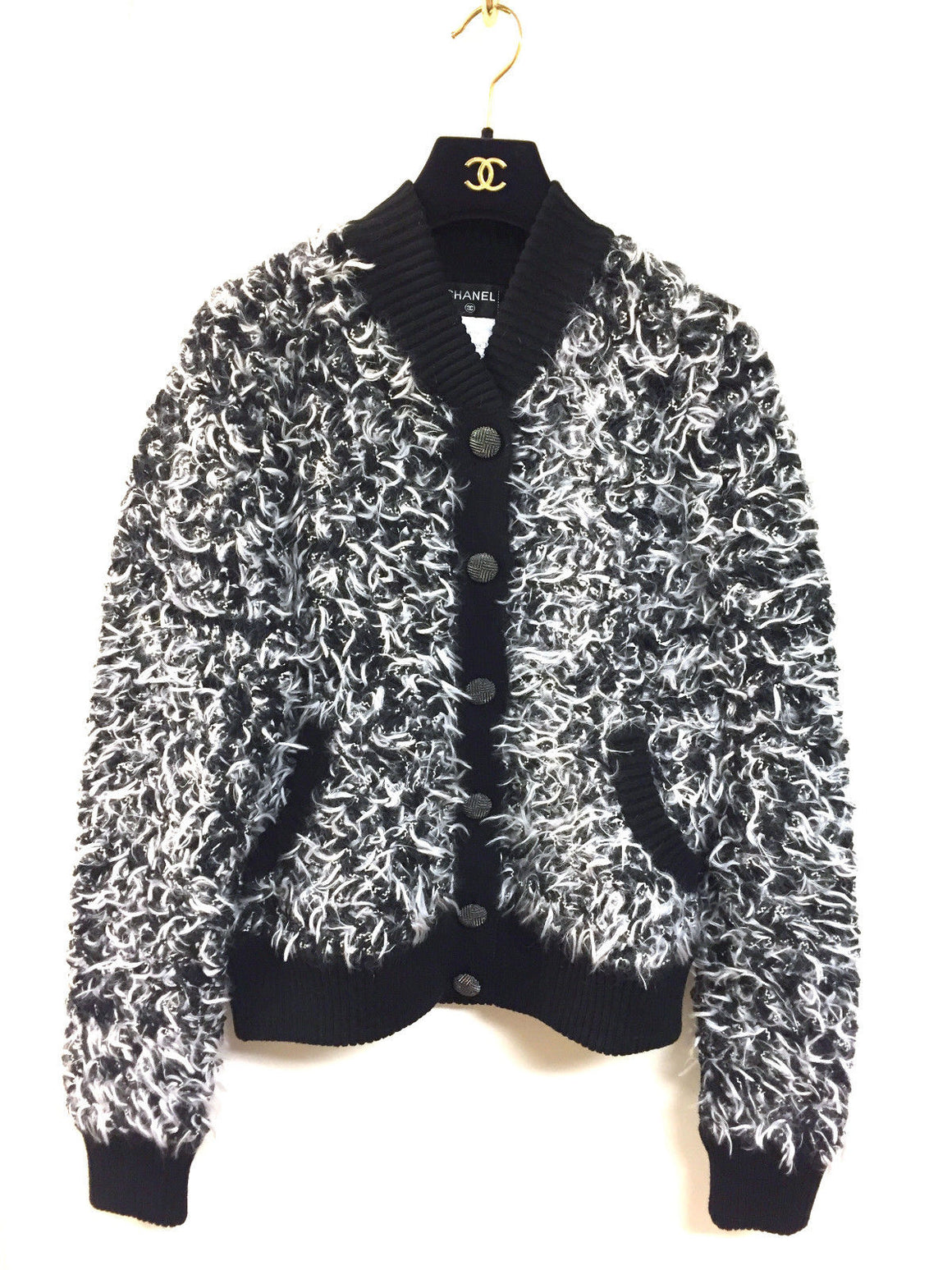 bisbiz.com CHANEL Black & White Cashmere-Blend Furry Knit Cardigan Jacket Top Size: FR 40 / Medium - Bis Luxury Resale