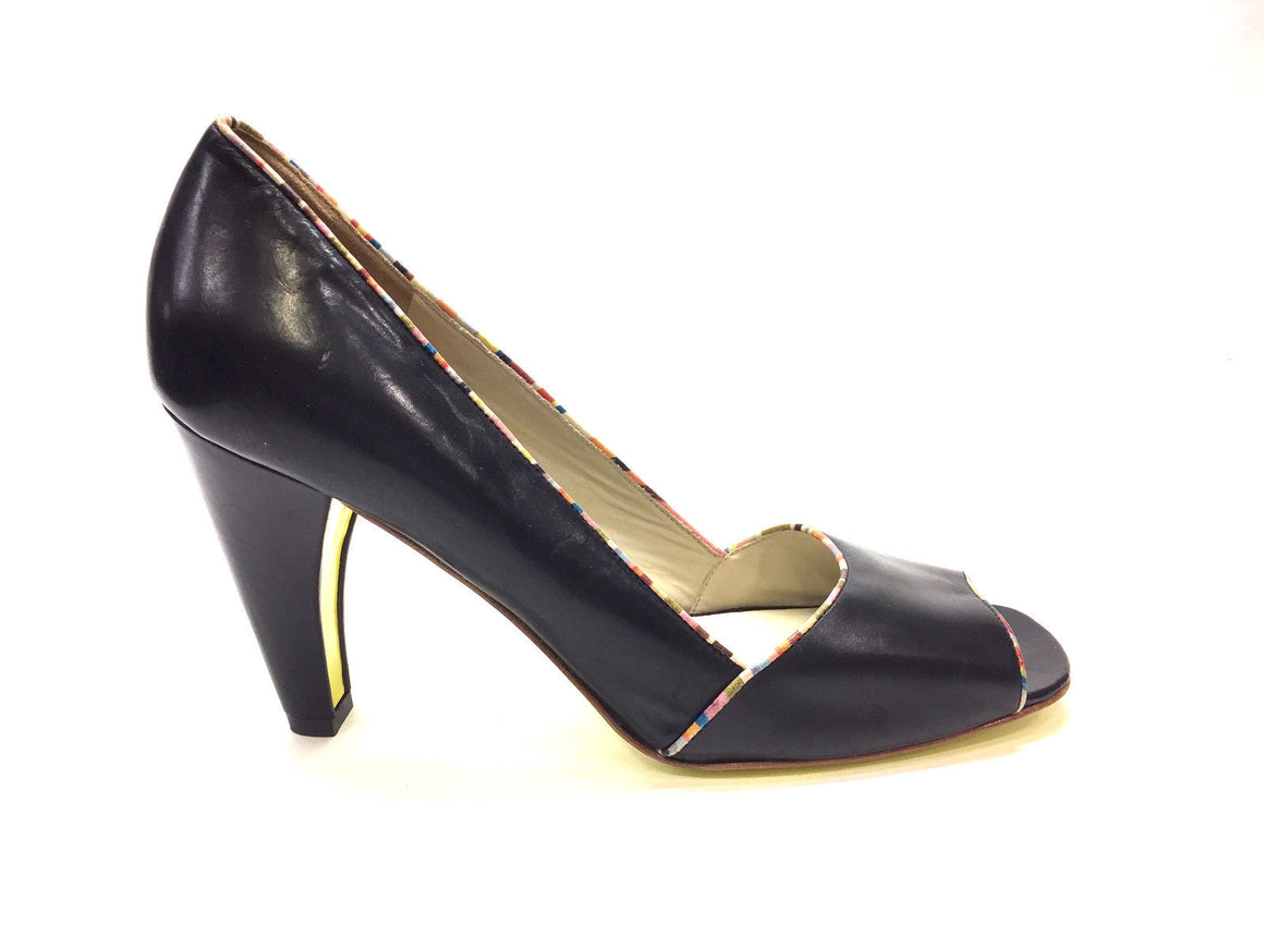 bisbiz.com PAUL SMITH Black Leather Multicolor Rainbow Trim Open-Toe Heel Pumps  Size: EU 40 / US 10 - Bis Luxury Resale