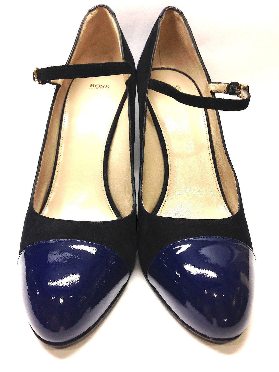 bisbiz.com HUGO BOSS  Black Suede Navy Patent Leather Classic Mary Jane Heel Pumps - Bis Luxury Resale