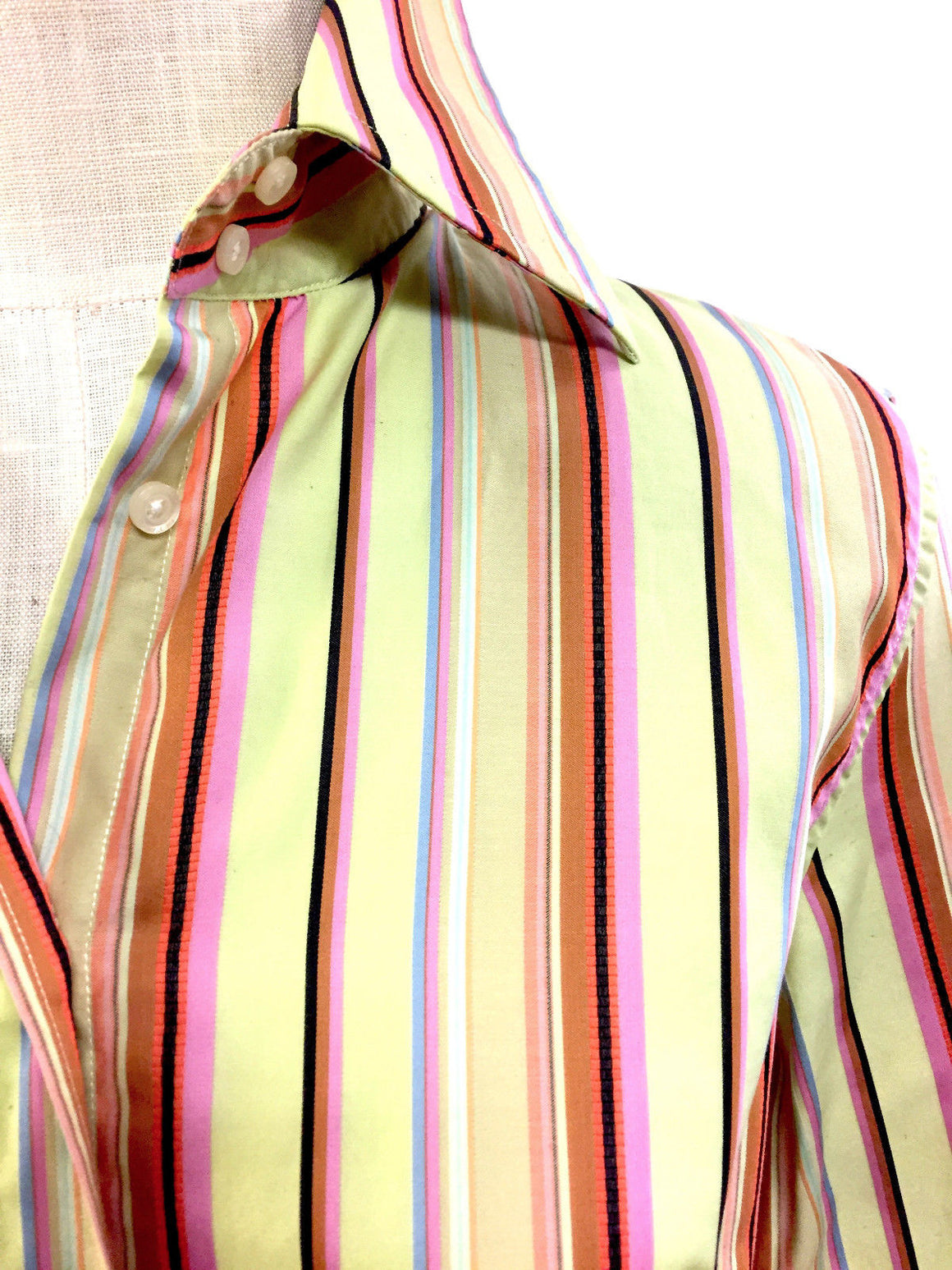 bisbiz.com ETRO Green/Multicolor Rainbow Stripe Cotton Shirt Blouse Size: IT 44 / US 8 - Bis Luxury Resale