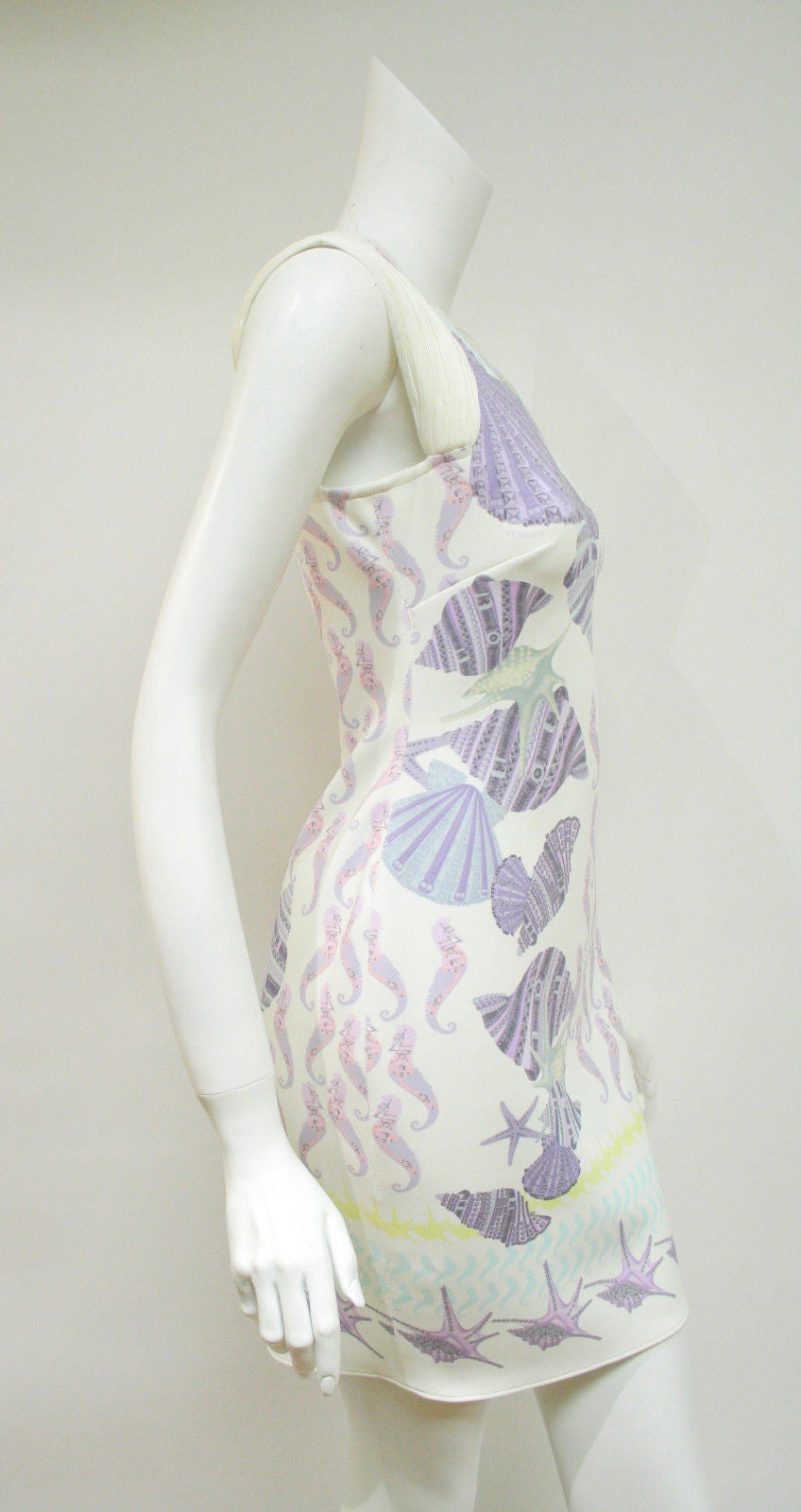 bisbiz.com VERSACE  White/Multicolor Seashell Print  Exposed Back Zip Sleeveless Dress  Size: IT 40 / US 6 - Bis Luxury Resale