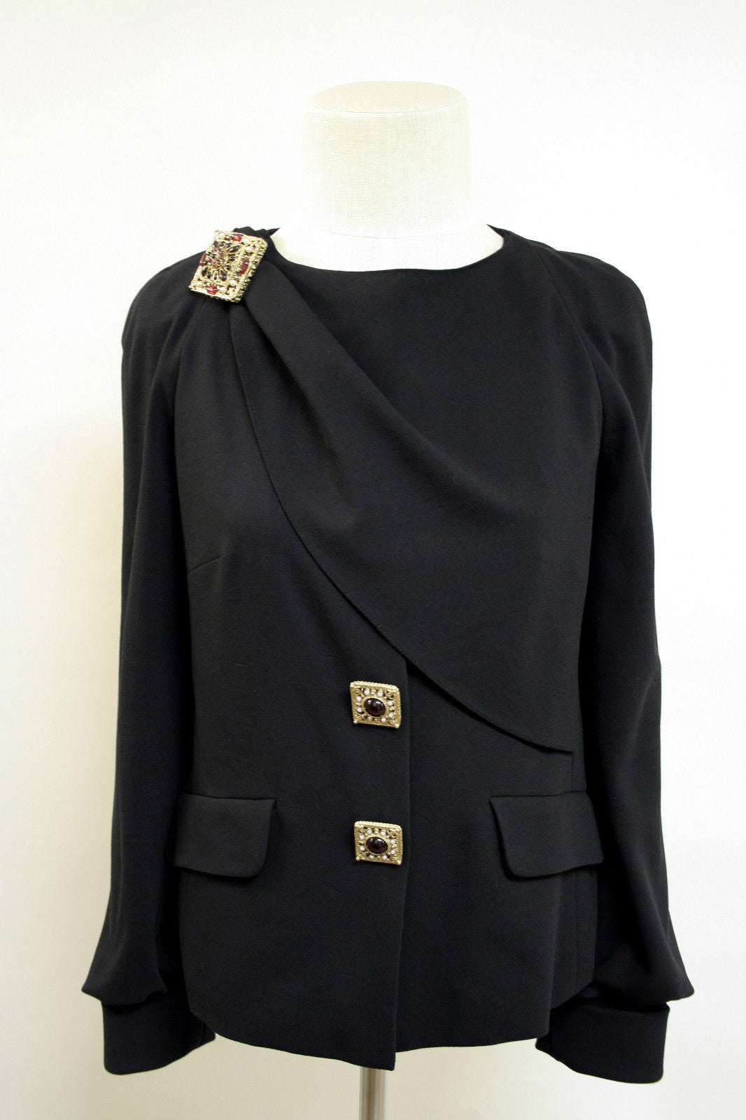 bisbiz.com CHANEL  Black Wool-Blend Gripoix Buttons & Pin Jacket Skirt Suit  Size: Fr36/US4 - Bis Luxury Resale