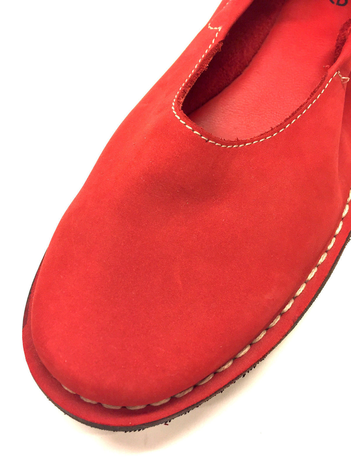 bisbiz.com ARCHE  Red Suede Ankle-Strap Ballet Flats Shoes Size: 10M - Bis Luxury Resale