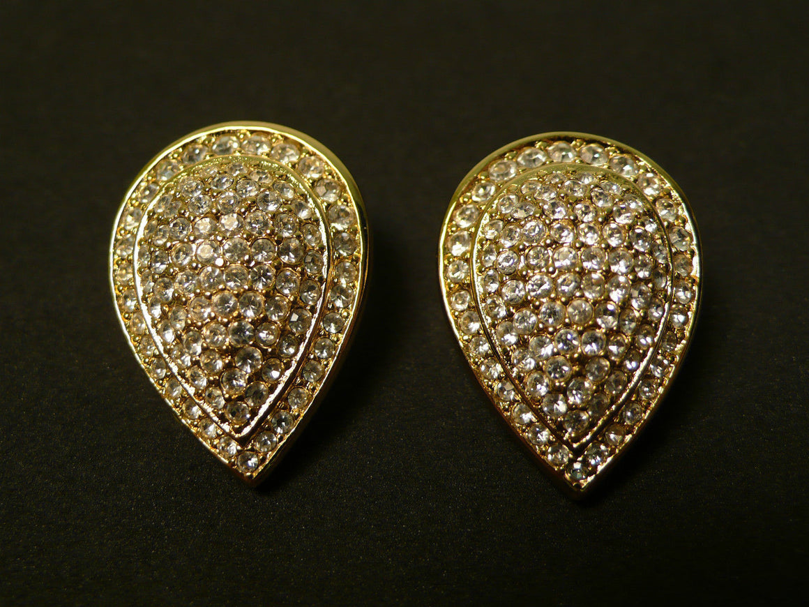 bisbiz.com CHRISTIAN DIOR   Gold-tone Crystal-Pave Teardrop Clip Earrings - Bis Luxury Resale