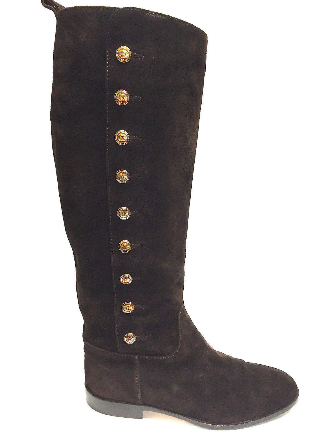 bisbiz.com CHANEL  Rare  Brown Suede Most-Coveted Gold CC Buttons Pull-on Riding Boots Size: 39.5 / 9.5 - Bis Luxury Resale