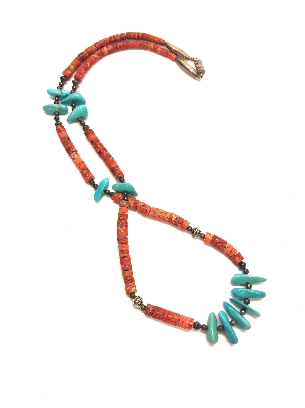 bisbiz.com NATIVE AMERICAN   Single-Strand Graduated Coral Rondels & Turquoise Nuggets Necklace - Bis Luxury Resale