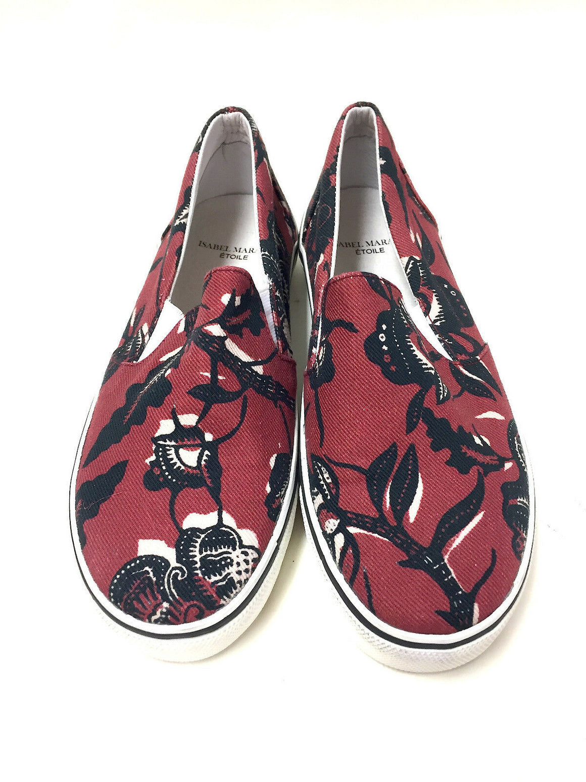 ISABEL MARANT  ETOILE  Claret/Black Floral-Print Canvas Slip-On Sneakers Shoes  Size: EU36 / US6