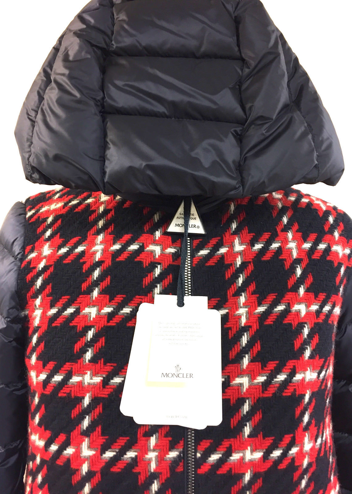 MONCLER   New with Tags Red White Blue Plaid Wool/Blue Down-Quilted Nylon CURIOSITE Girls' Winter Coat Jacket Size:  12 Years