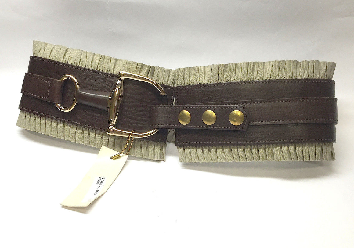 "bisbiz.com BRAVE BELTWORKS  New Brown Leather Ruffled Trim Bit Buckle ""ALLEGRA"" Belt Size: 28 / M - Bis Luxury Resale"