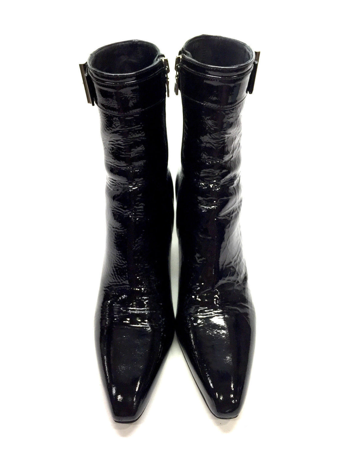 bisbiz.com PRADA Black Patent Leather Silvertone Logo Buckle Slim-Heels Ankle Boots/Booties Size: 38 / 8 - Bis Luxury Resale