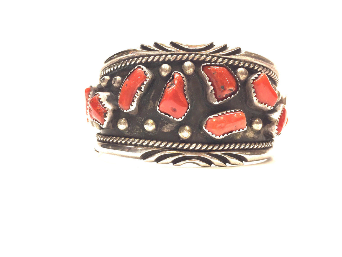 Vintage NATIVE AMERICAN Sterling Silver & Coral NAVAJO Jewelry LM Cuff Bracelet