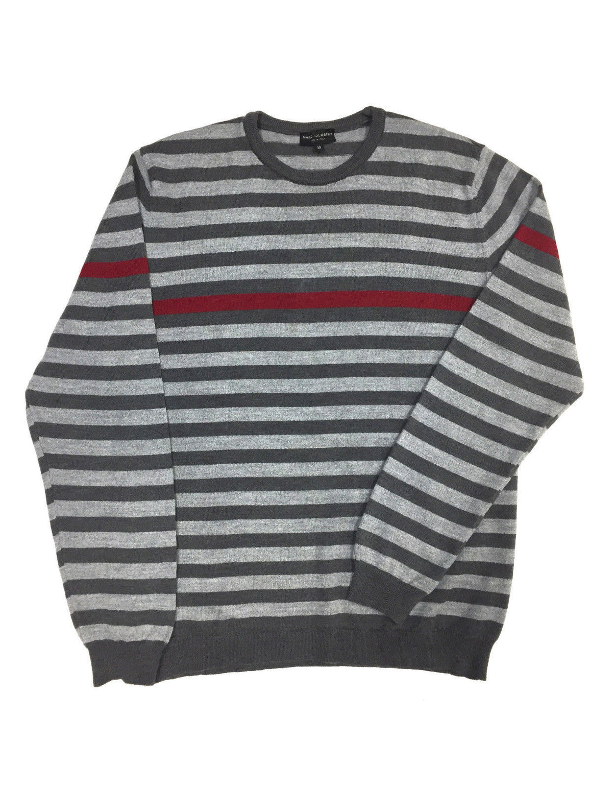 bisbiz.com MARCO GILBERTI   Gray Striped Merino Wool Men's Crewneck Sweater Size: M - Bis Luxury Resale