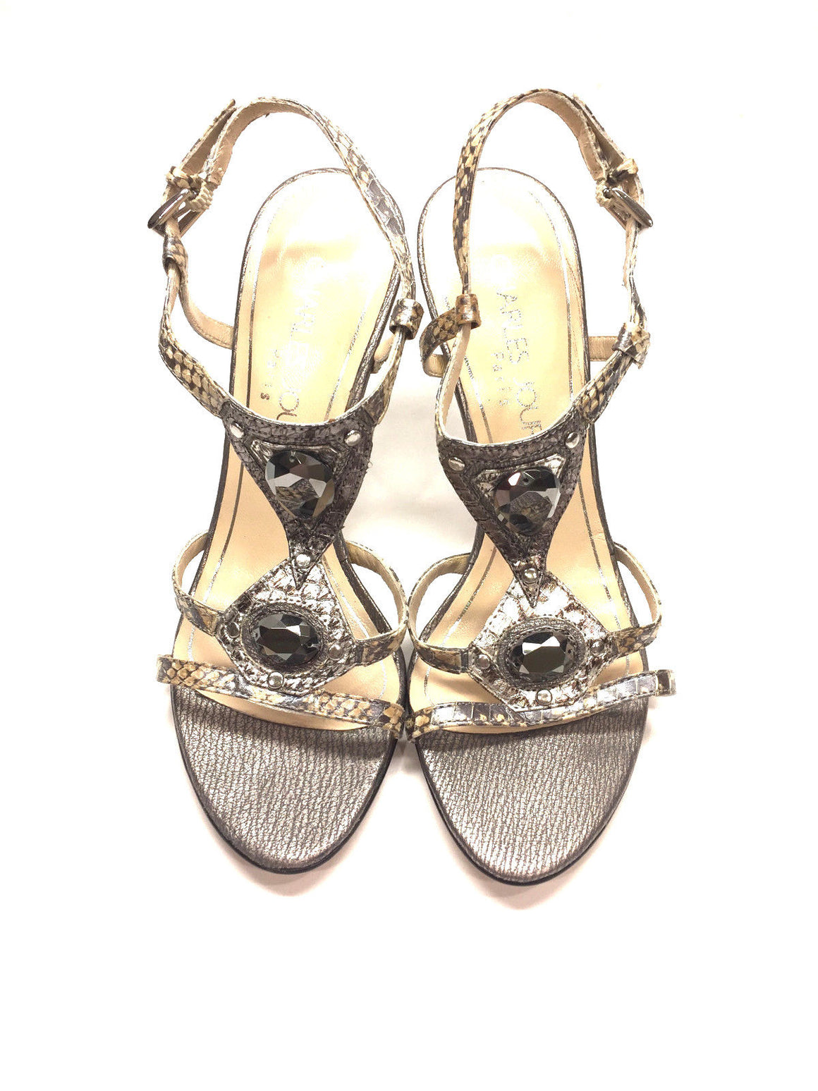 bisbiz.com CHARLES JOURDAN Beige/Silver-Gray Python Jeweled Ankle-Strap Heel Sandals Size: 6.5 - Bis Luxury Resale