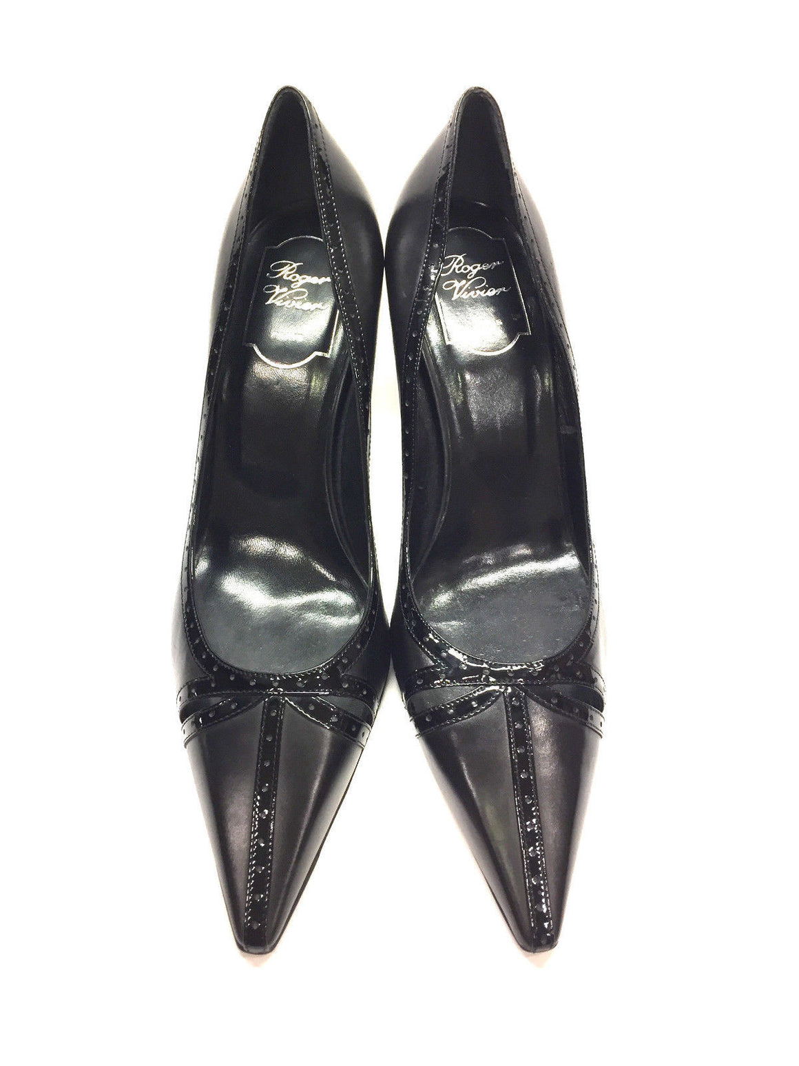 bisbiz.com ROGER VIVIER   Black Leather Perforated Patent Leather Trim  Pointed Top Heel Pumps Shoes  Size: 39.5/9.5 - Bis Luxury Resale