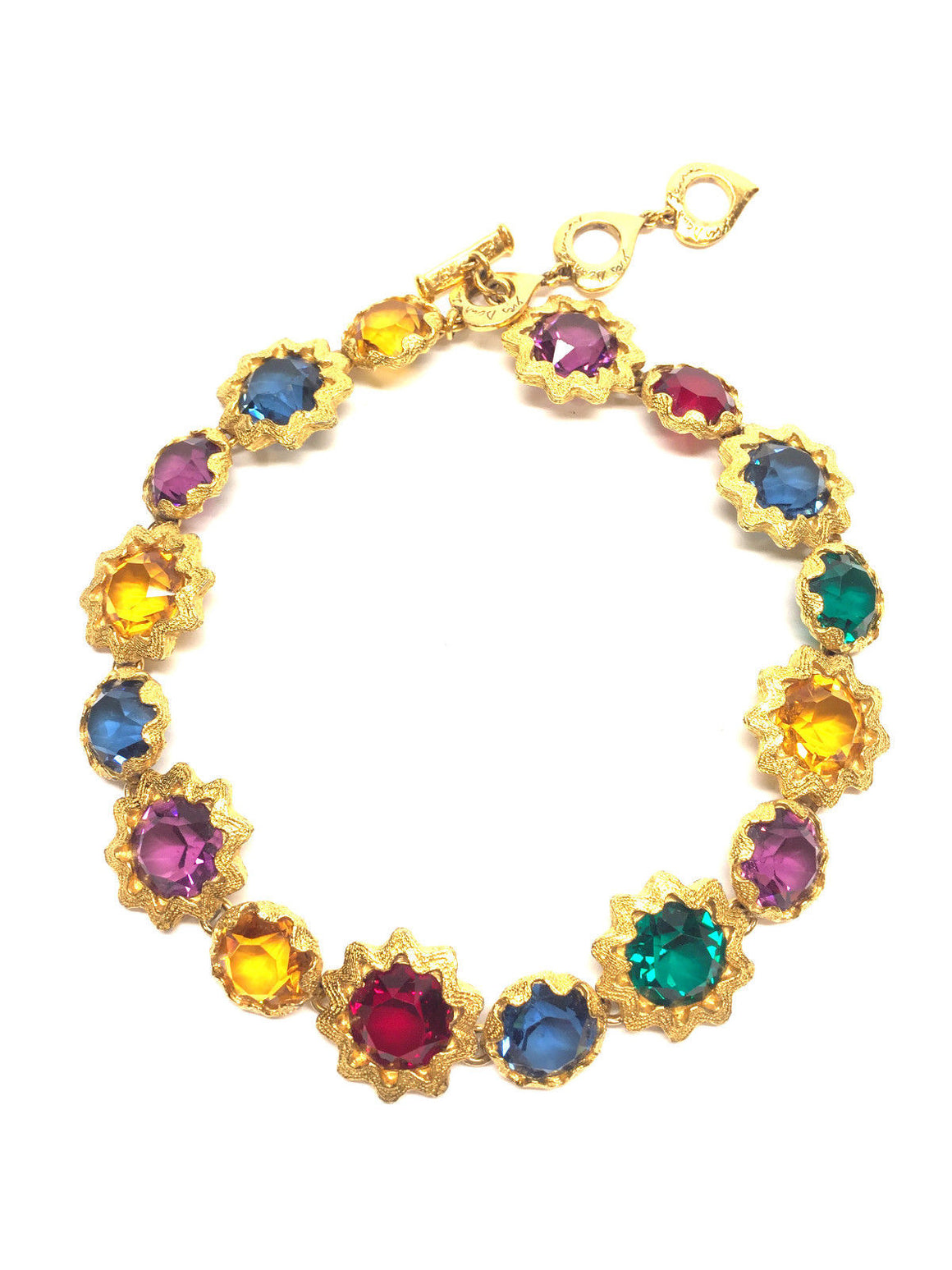 VTG YVES St.LAURENT ROBERT GOOSENS Gilt & Multicolor Crystals Statement Choker