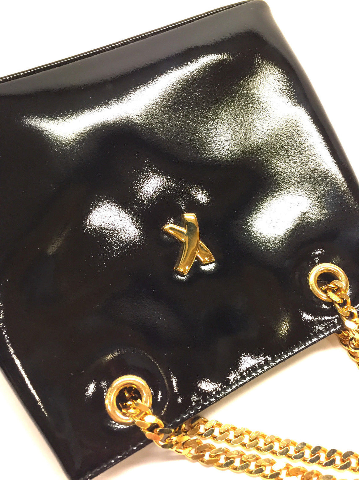 bisbiz.com PALOMA PICASSO  Black Patent Leather Gold Chain Crossbody/Shoulder  Evening Bag Purse - Bis Luxury Resale