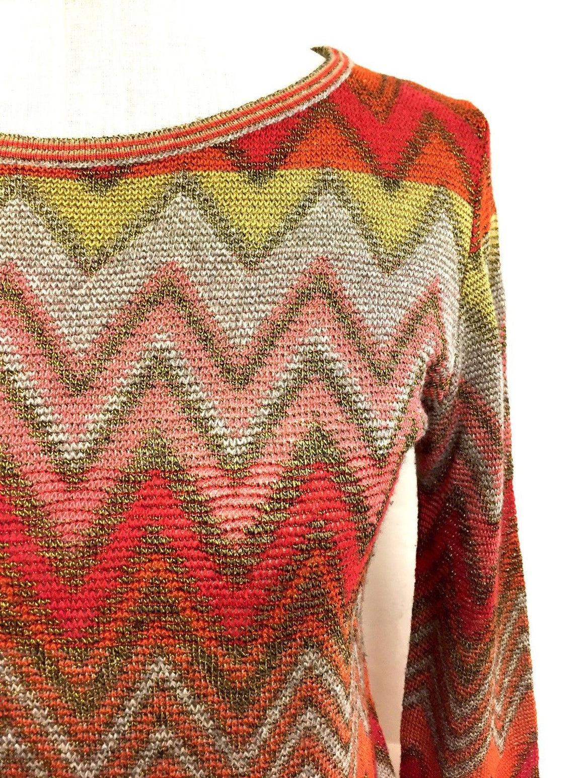 ROBERTA di CAMERINO  Vintage Red/Multicolor Viscose-Blend Knit Sweater Top  Size: IT42 / 6
