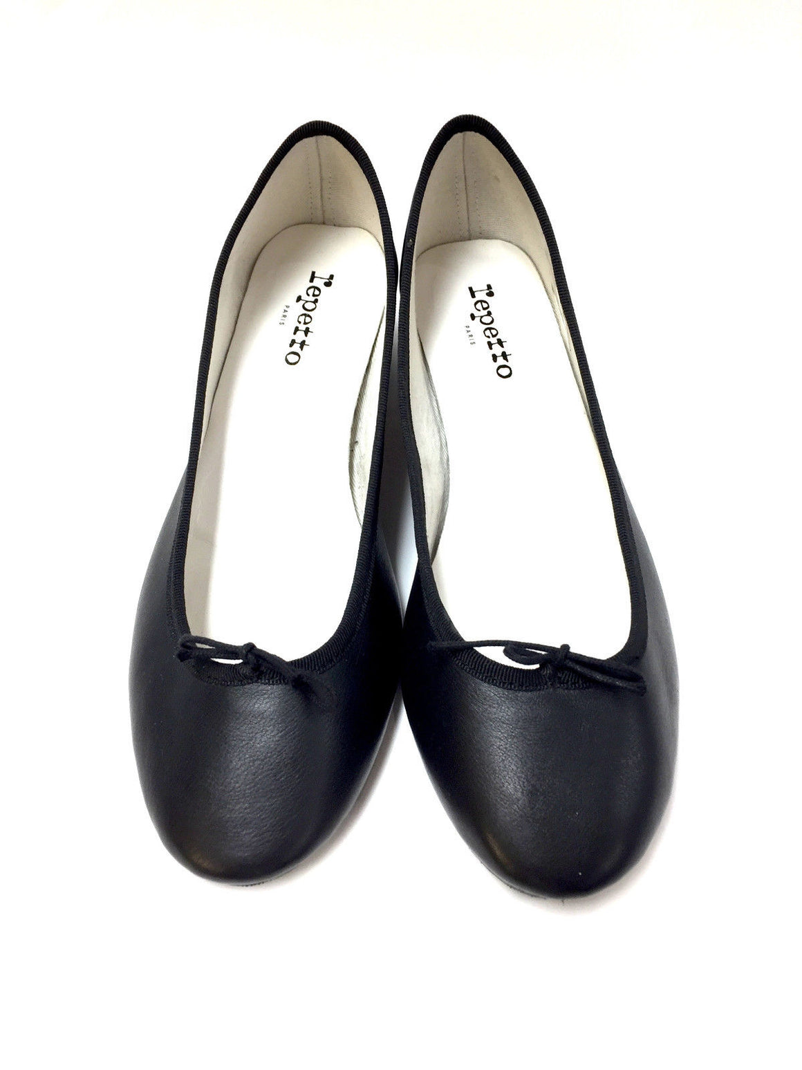 REPETTO Black Leather Low-Block Heel Ballet Pumps Shoes Sz40
