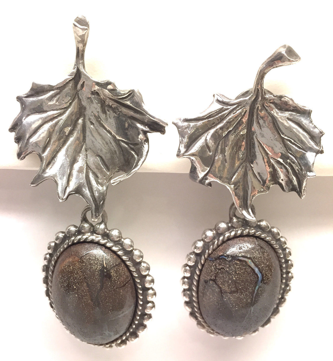 bisbiz.com STEPHEN DWECK   Sterling Silver Australian Boulder Opal Drop Clip-On Earrings - Bis Luxury Resale
