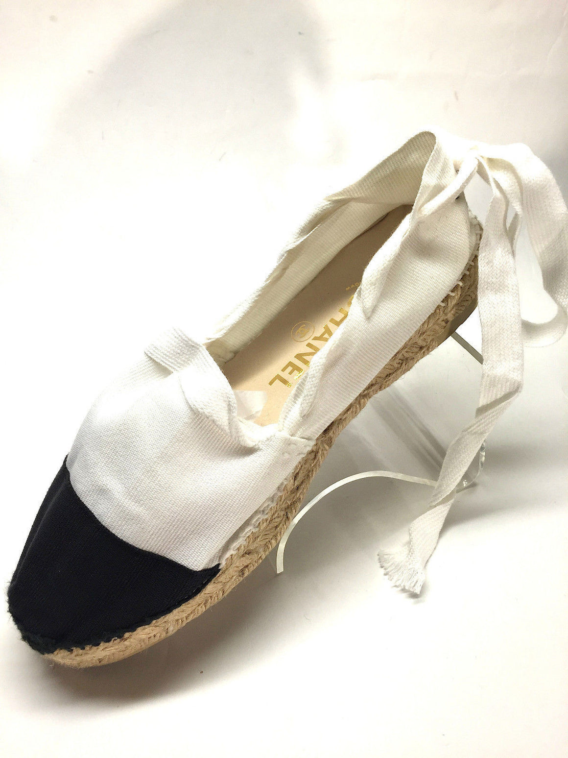 bisbiz.com CHANEL   Iconic White/Black Canvas Ankle Lace-Up  Hand-Sewn Flat Espadrilles  Size: 40/10 - Bis Luxury Resale