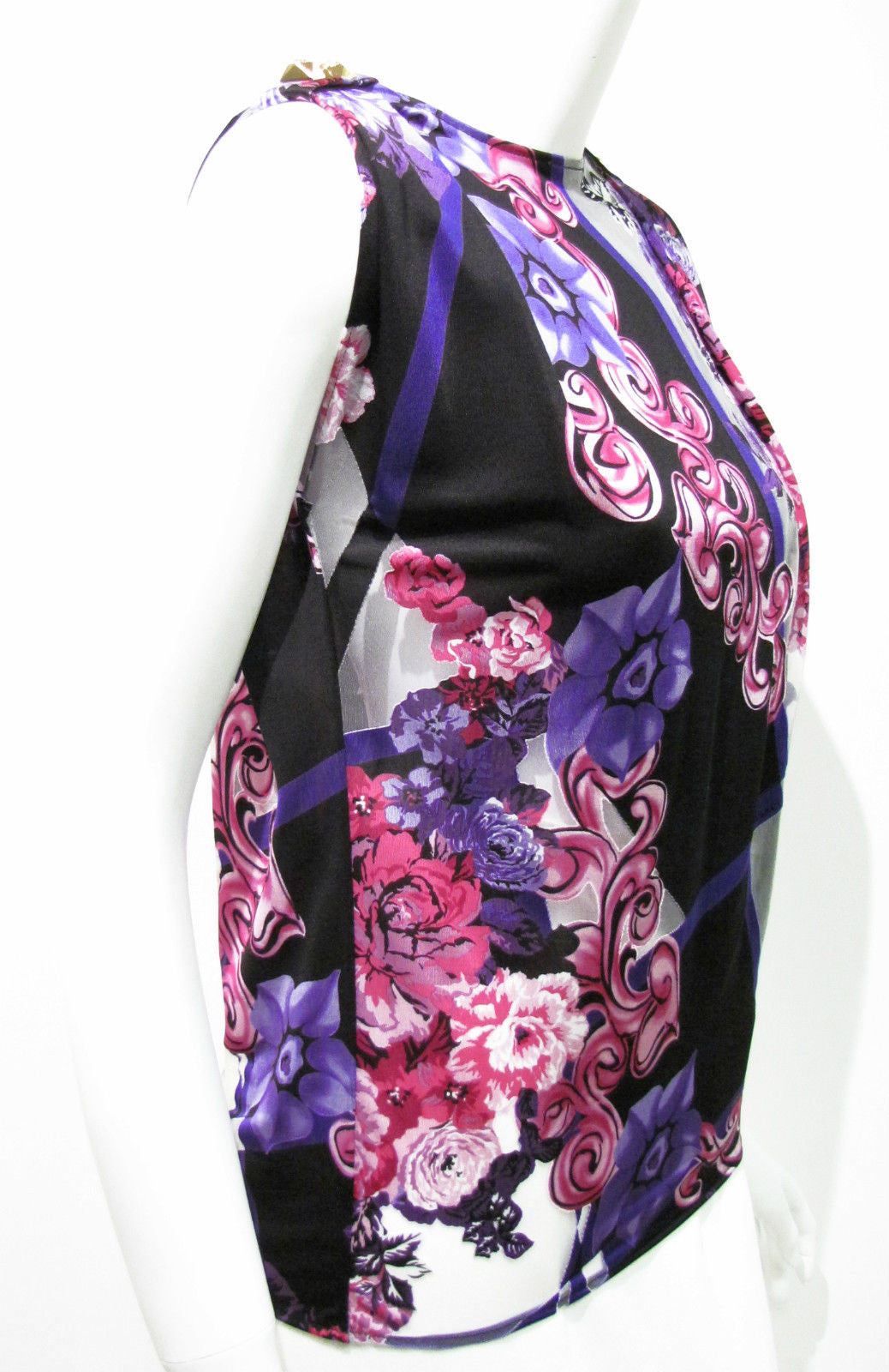 bisbiz.com VERSACE  NWT Black Purple Floral-Print Semi-Sheer Sleeveless Blouse Tank Size: IT 38 / US 4 - Bis Luxury Resale