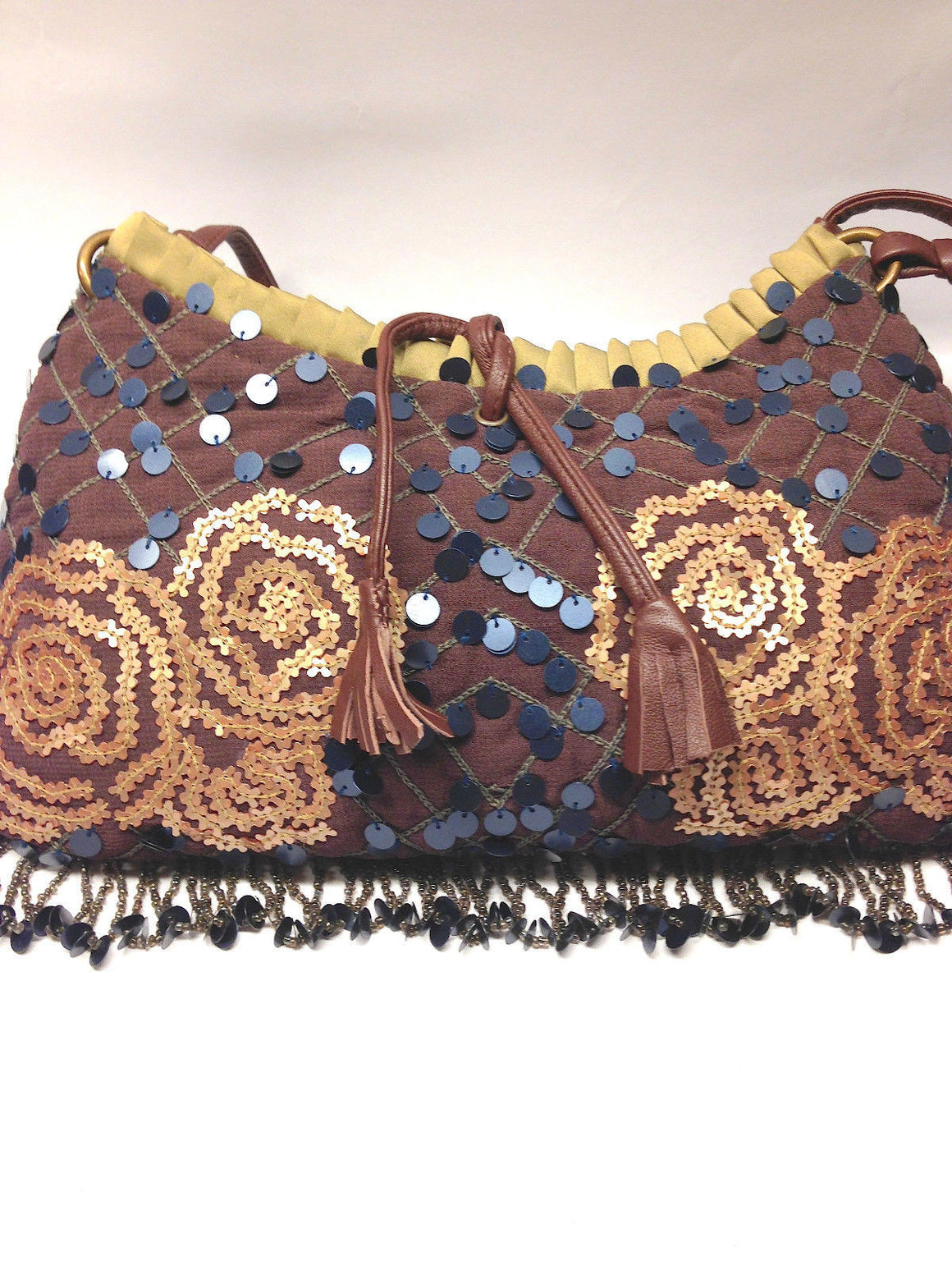 bisbiz.com JAMIN PUECH  Brown Sequined Rosette Beaded Fringe Evening Shoulder Bag - Bis Luxury Resale