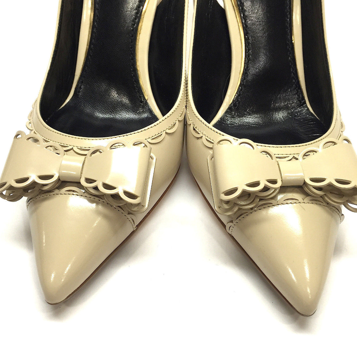 bisbiz.com DOLCE & GABBANA  Beige Patent Leather Pointy-Toe Bow  Heel Slingbacks  Size: 38 / 7.5 - Bis Luxury Resale