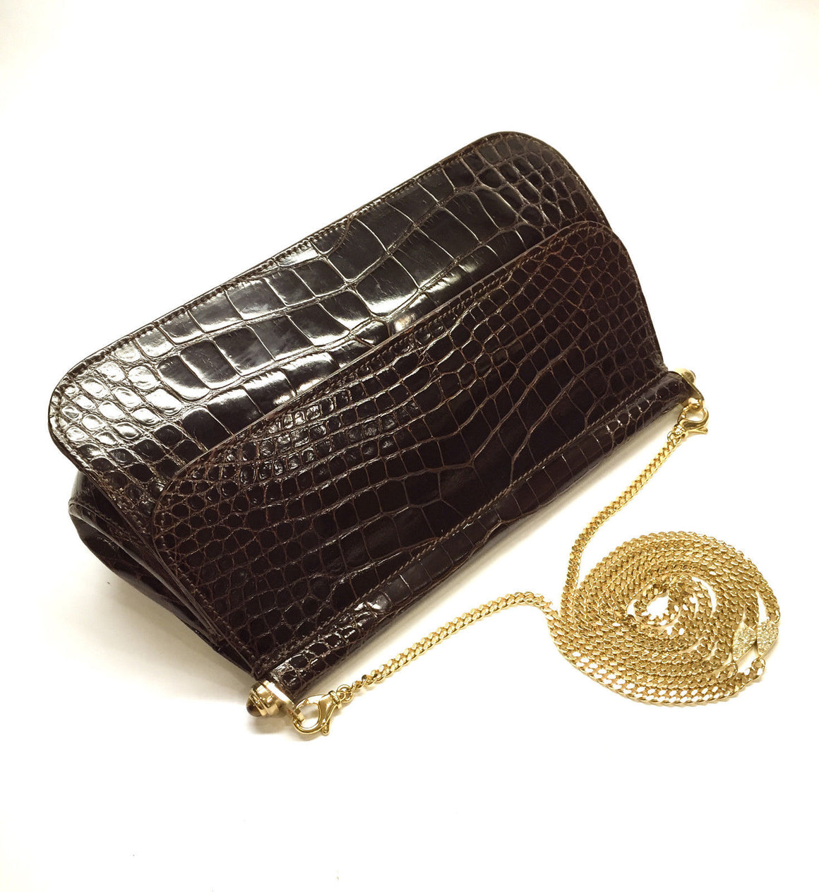 bisbiz.com JUDITH LEIBER  Brown Crocodile/Alligator Gold Chain Strap Clutch/Shoulder Bag - Bis Luxury Resale