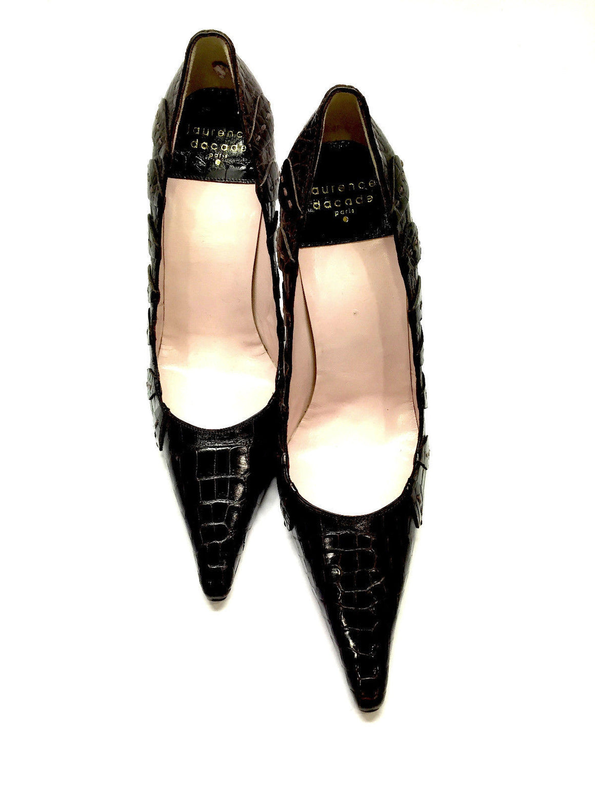 bisbiz.com LAURENCE DACADE  Paris  Brown Alligator Pointed-Toe  Classic Heel Pumps Shoes  Size: 37 / 7 - Bis Luxury Resale