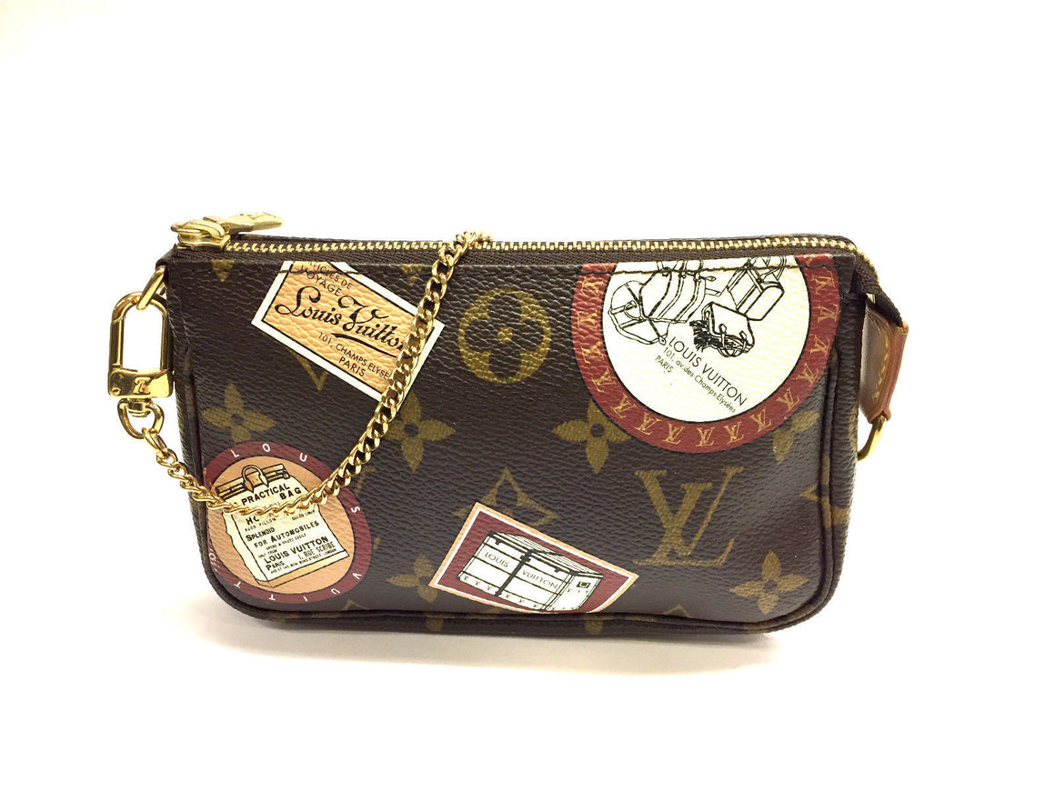 bisbiz.com LOUIS VUITTON LV Monogram Luggage Trunk Travel Accessory Mini Pochette Wristlet Bag - Bis Luxury Resale