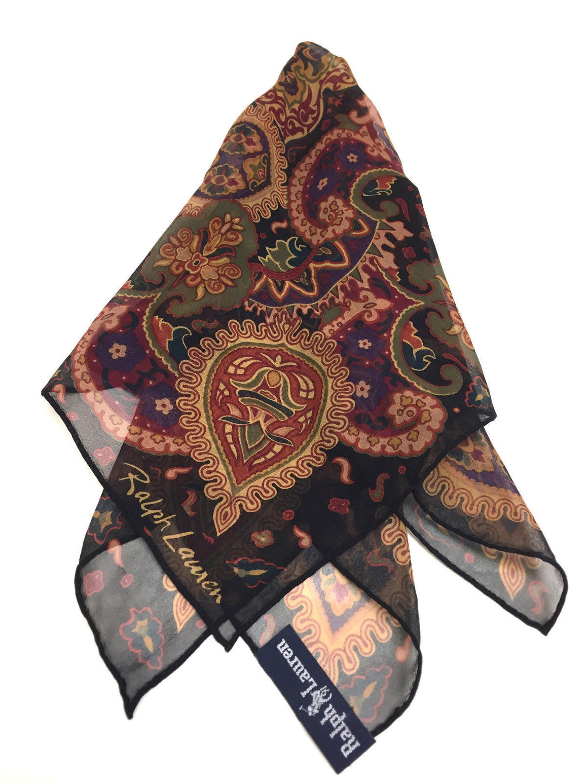 bisbiz.com RALPH LAUREN Black/Multicolor Paisley-Print Silk Square Pocket Scarf/Bandana - Bis Luxury Resale