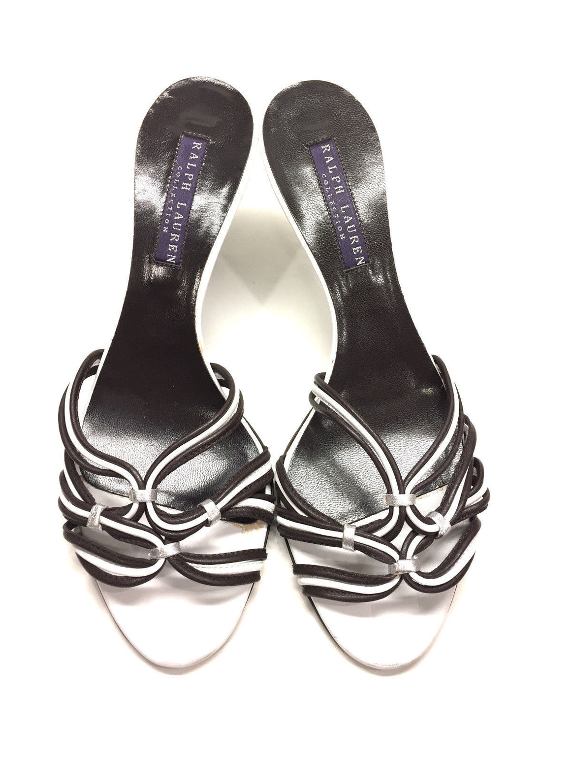 bisbiz.com RALPH LAUREN Purple Label Brown/White Leather Strappy Heel Sandals Mules Size: 6.5B - Bis Luxury Resale