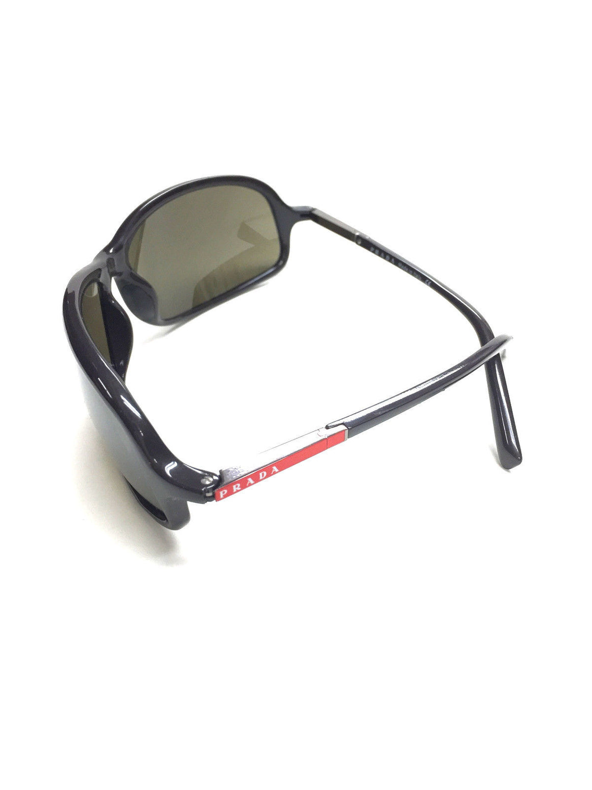bisbiz.com PRADA Gunmetal Acrylic-Frame Wrap Sunglasses w/Reflective Lenses Style: SPS02D/0AT501 - Bis Luxury Resale