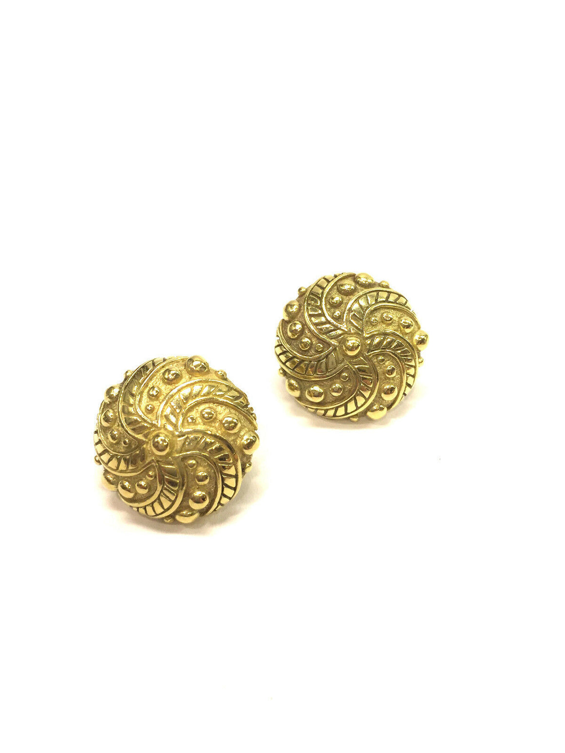 J. J. MARCO 18K Yellow Gold PINWHEEL Button Post/Clip-on Earrings