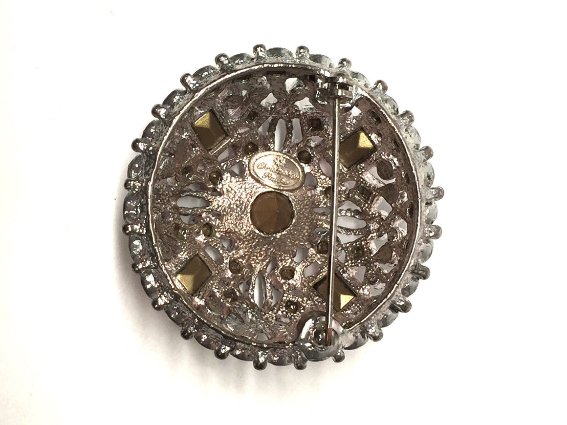 bisbiz.com CHRISTOPHER RADKO Silver-tone Clear Pink & Turquoise Diamante Pin Brooch - Bis Luxury Resale