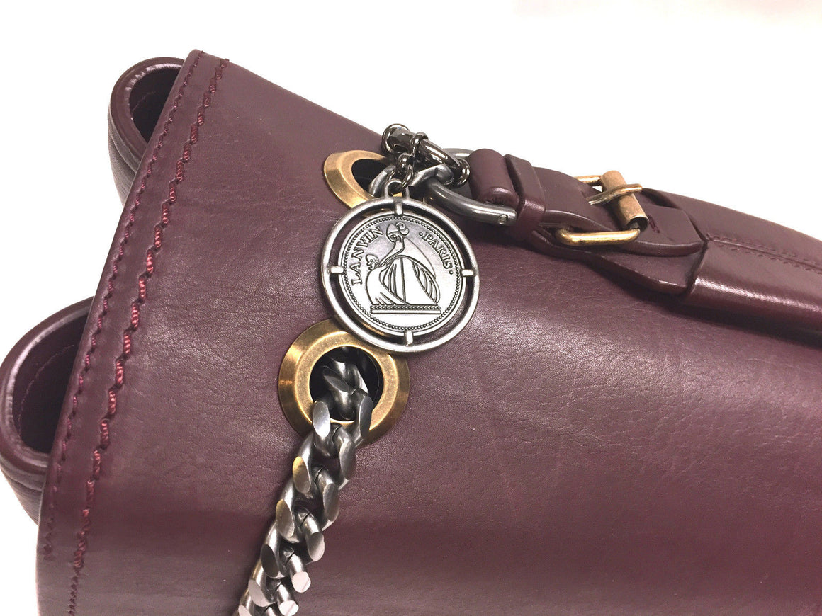 "LANVIN Burgundy Leather Gunmetal Chain Strap Large ""HAPPY"" Bag"