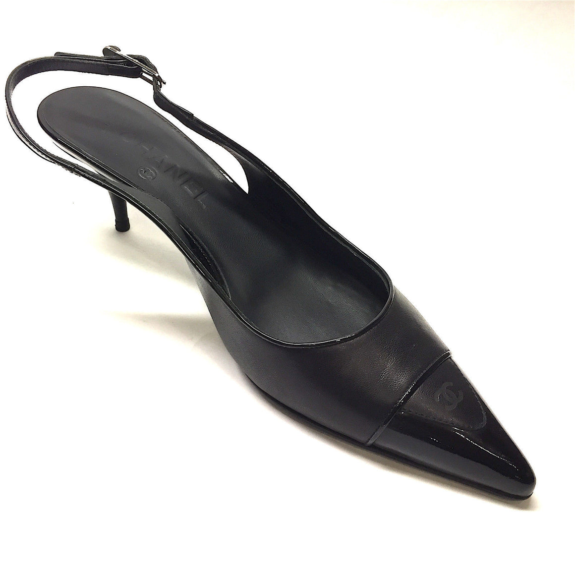 bisbiz.com CHANEL  Black Leather Patent Logo Pointed Toe  Low-Heel Slingback Pumps Shoes  Size: 39.5/9.5 - Bis Luxury Resale