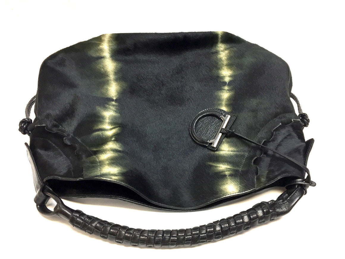 bisbiz.com FERRAGAMO  Black/Green Tie-Dyed Calf-Hair Hobo Bag with Woven Leather Strap - Bis Luxury Resale