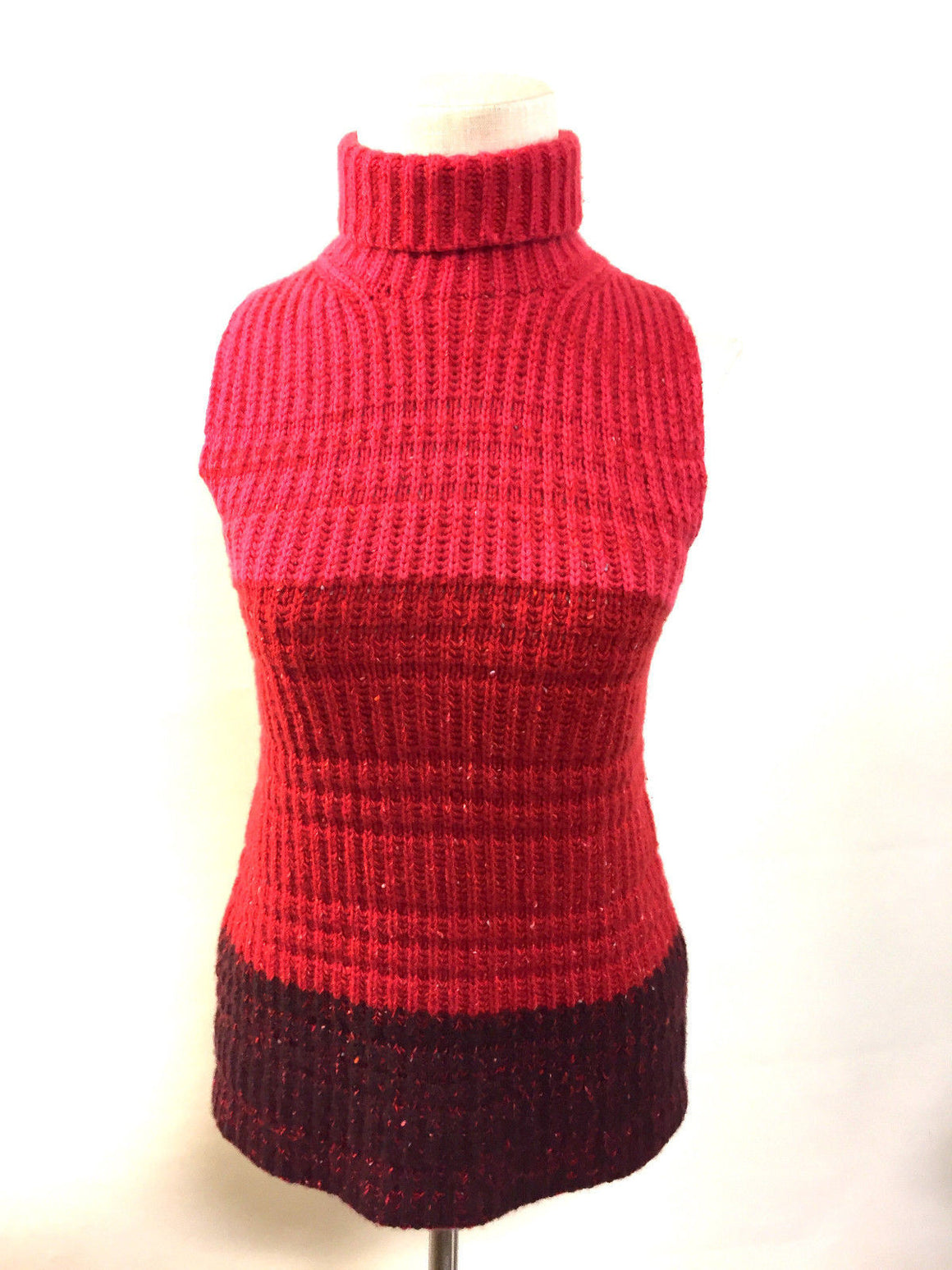 bisbiz.com TSE Vintage Red Rib-Knit Cashmere Color-Block Sleeveless Mock-Turtleneck Sweater Top Size: M/L - Bis Luxury Resale