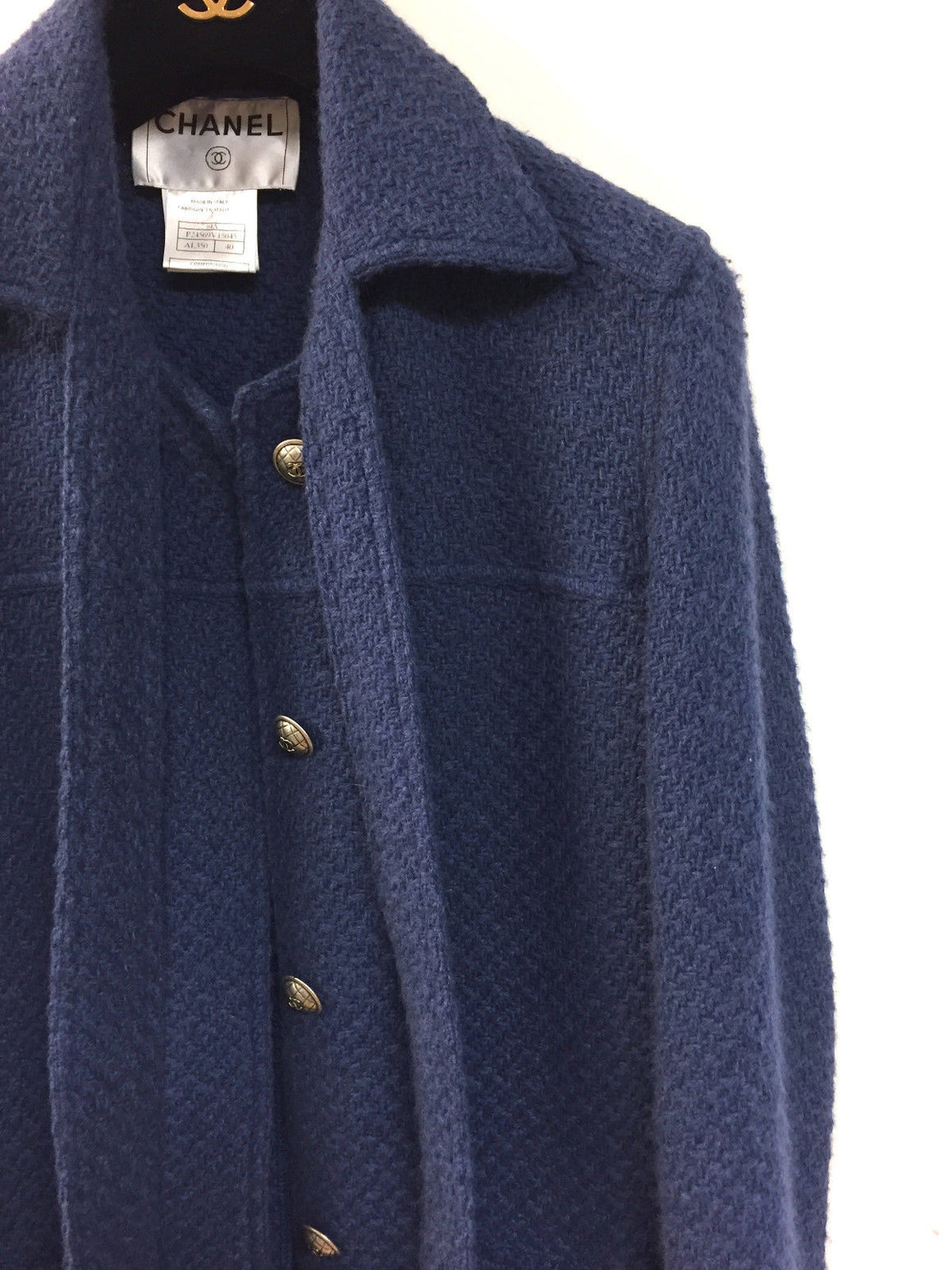 bisbiz.com CHANEL Fall 2004 Collection Slate-Blue Wool/Angora Blend Knit Sweater Coat Size: FR 40/US6 - Bis Luxury Resale