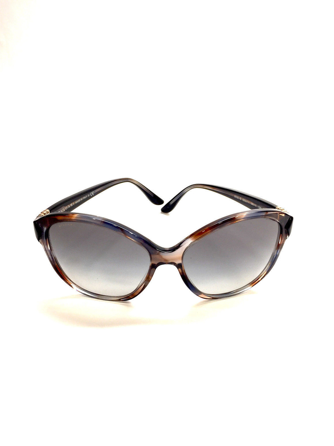 bisbiz.com BVLGARI  Style: #8092-B 5202/11  Brown/Blue Moc-Tortoise Frame Blue-Tint Lenses  Crystal Detail Sunglasses/Case - Bis Luxury Resale