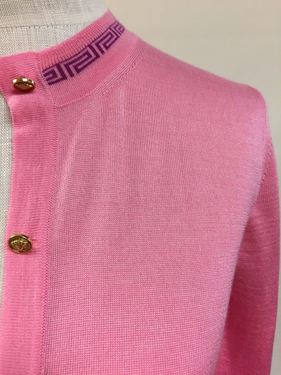 bisbiz.com VERSACE New with Tags BUBBLEGUM-PINK CASHMERE & SILK GOLD MEDUSA BUTTONS CARDIGAN SWEATER Size: Small - Bis Luxury Resale