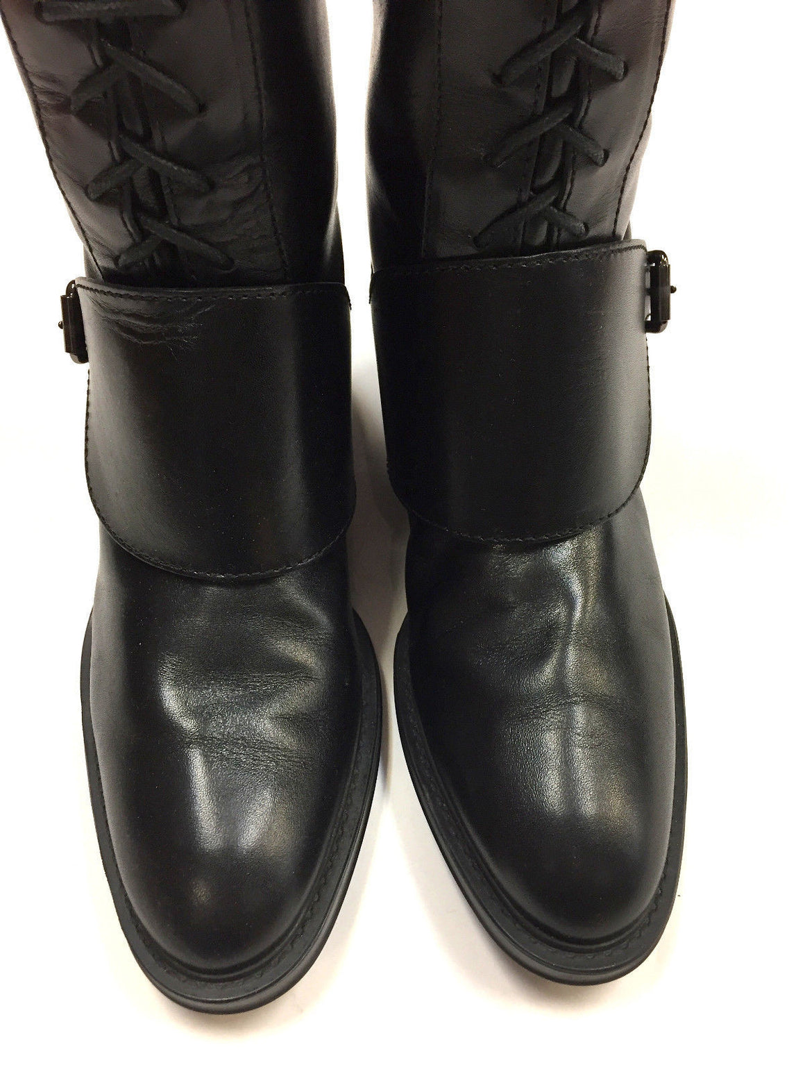 bisbiz.com TOD's   Black Leather Lace-Up Front Tall Pull-on Riding Boots  with Buckled Strap  Size: 7.5 - Bis Luxury Resale