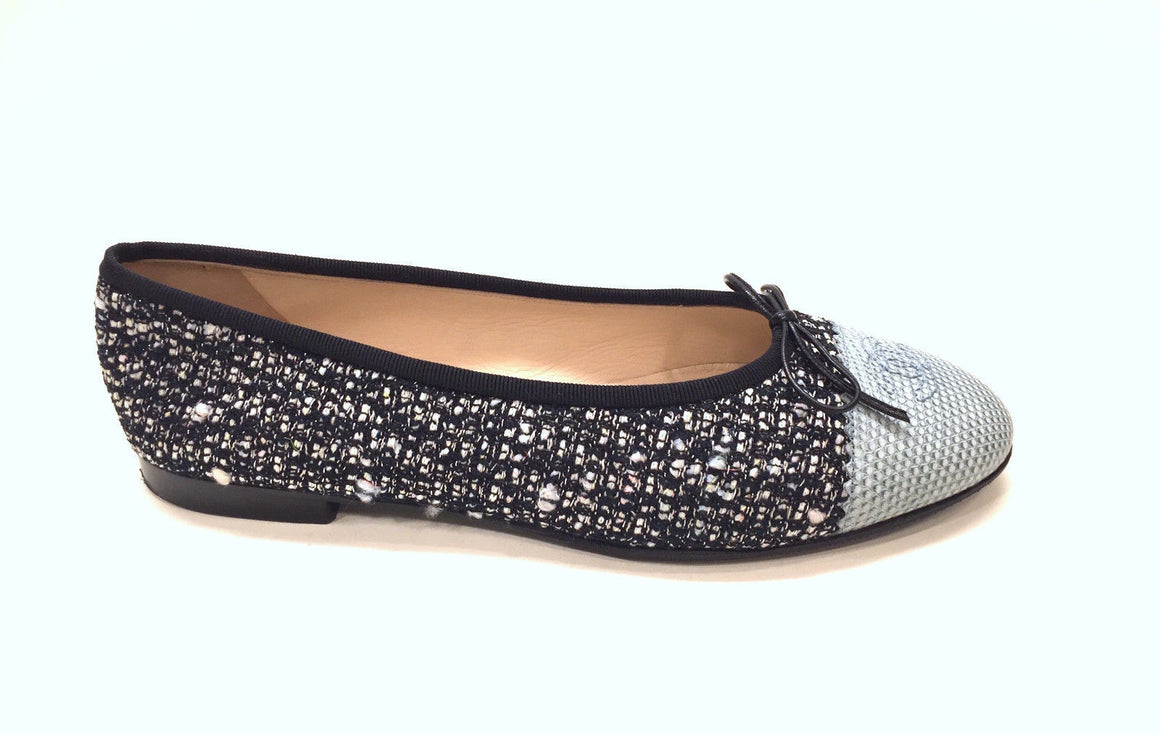 bisbiz.com CHANEL  Black/Metallic Silver Tweed Aqua-Blue Reptile Toe Ballet Flats Shoes  Size: 39.5 / 9.5 - Bis Luxury Resale