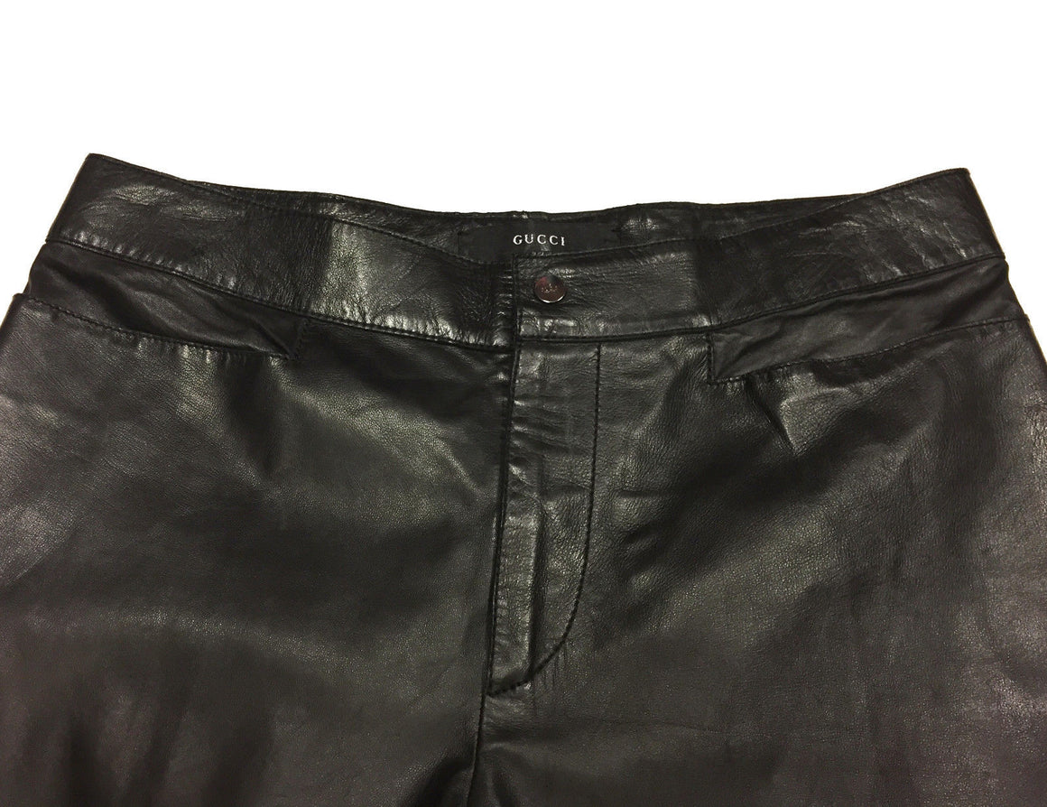 bisbiz.com GUCCI Black Leather Straight-Leg Hi-Rise Pants Size: IT42 / US6 - Bis Luxury Resale