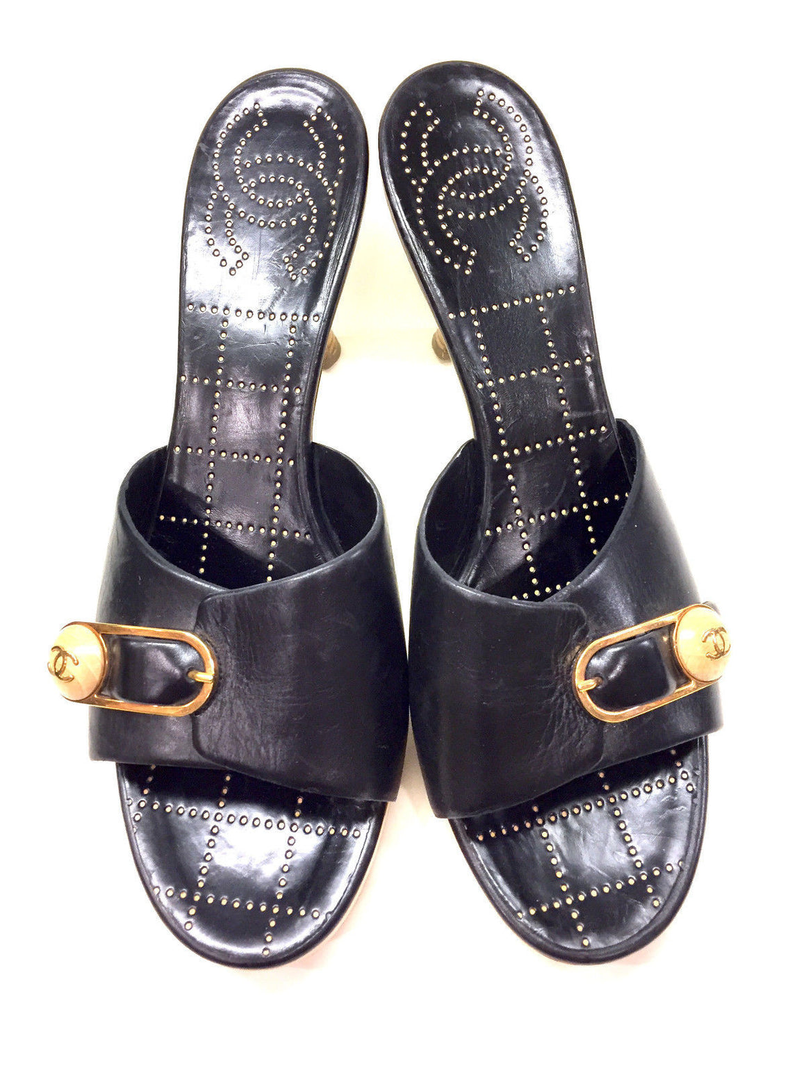 bisbiz.com CHANEL   Black Leather Wooden Platform & Logo Button Slip-On Heel Mules Shoes  Size: 10 - Bis Luxury Resale